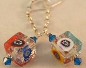 Venetian Millefiori Glass 925 Sterling Earrings