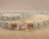 Aquamarine Gemstone Sterling Silver Love and Peace Necklace
