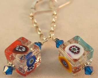 Venetian Millefiori Glass 925 Sterling Earrings