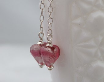 Venetian Glass Pink Heart 925 Sterling Post Earrings