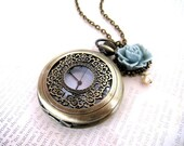 Vintage Style Filigree Pocket Watch with Flower Necklace