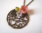 Circle Filigree Pendant with Flowers Necklace