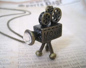 Rustic Antique Brass Movie Camera Pendant Necklace