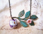 Verdigris Patina Leaf Branches with Sleepy Porcelain Owl Necklace