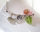 Plum Blossom Necklace. Flowers Branch and Sweet Sparrow in Antique Silver