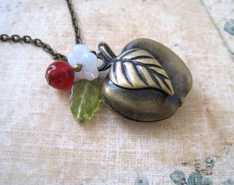 Apple Locket Necklace. Antique Brass Apple Locket with Flower and Leaf
