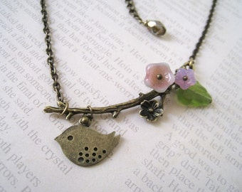 Antique Brass Flower Branch with Sweet Sparrow Necklace