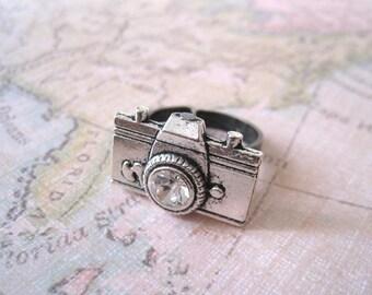 Camera Ring. antique silver camera ring. adjustable ring. friendship ring