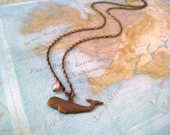 Whale necklace. Antique Patina Finished Whale Charm and Pearl in Antique Patina Finished