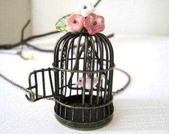 Birdcage Necklace. antique bronze birdcage necklace. bird necklace. garden necklace. long chain necklace. vintage wedding. birthday gift