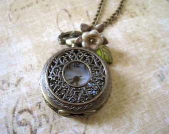 Pocket Watch Necklace. mini pocket wath necklace. vintage style filigree pocket watch with czech flower bead. fall jewelry. vintage wedding