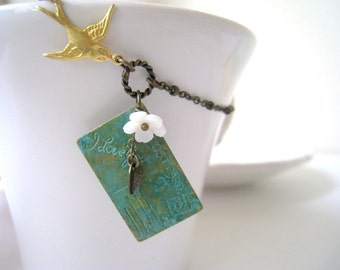 Verdigris Patina Postcard with Love Necklace