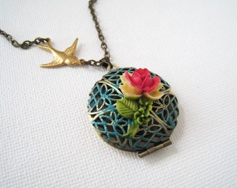 Antique Brass Filigree Locket with Rose Necklace