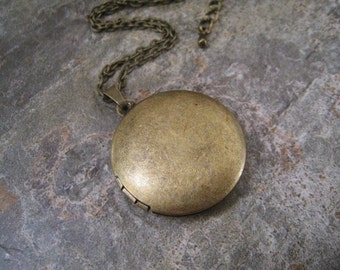 Vintage Style Brass Locket Necklace