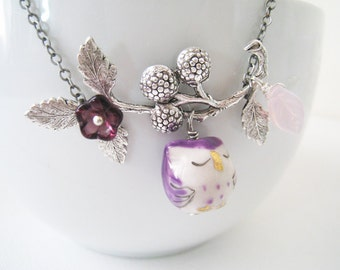 Purple Owl Necklace. purple sleepy owl. porcelain owl and berry branch in silver chain. nature inspired necklace