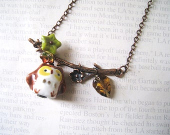 Lovely Owl on Branch Necklace