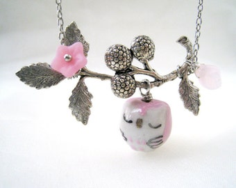 Owl  Necklace. Pink porcelain owl and berry branch in silver chain