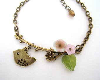 Flower Branch with Sweet Sparrow Bracelet