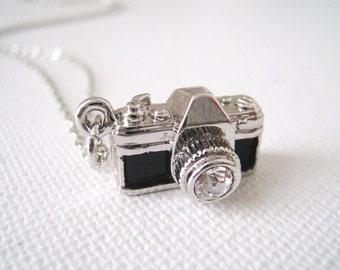 Silver Camera Pendant Necklace. tiny camera necklace in silver chain