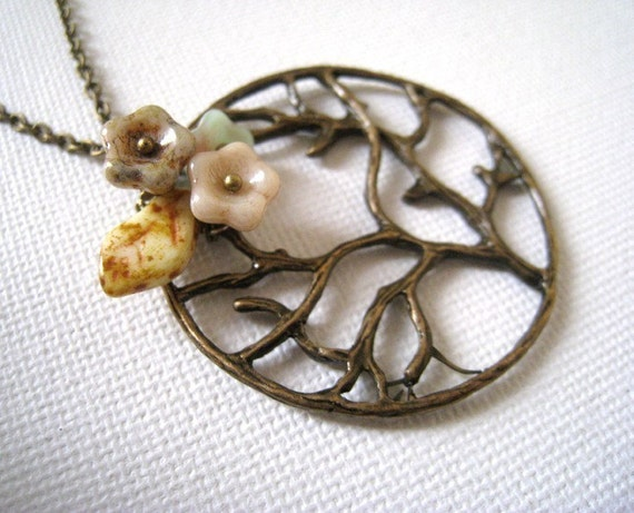 Poetic Tree. Antique Brass Tree Pendant with Flowers Necklace