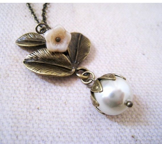 Poetic Branch. Antique Brass Leaf Branch Pendant with Cultural Glass Pearl Necklace