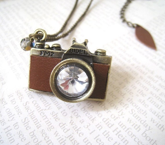 Vintage Style Antique Brass with Brown Leather Camera Necklace