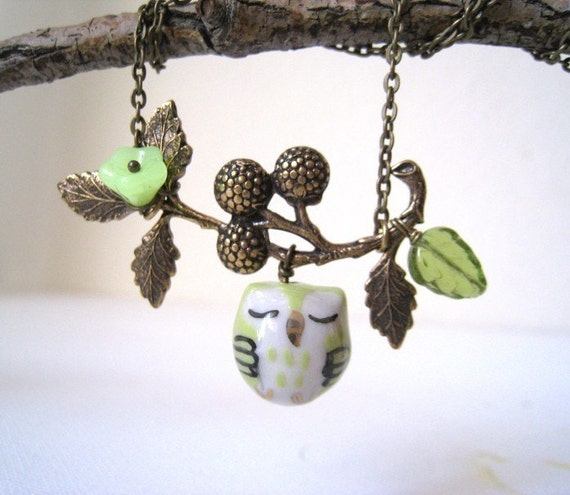 Sleepy Owl and Berry Branch  Necklace. lemon green porcelain owl with antique brass berry branch