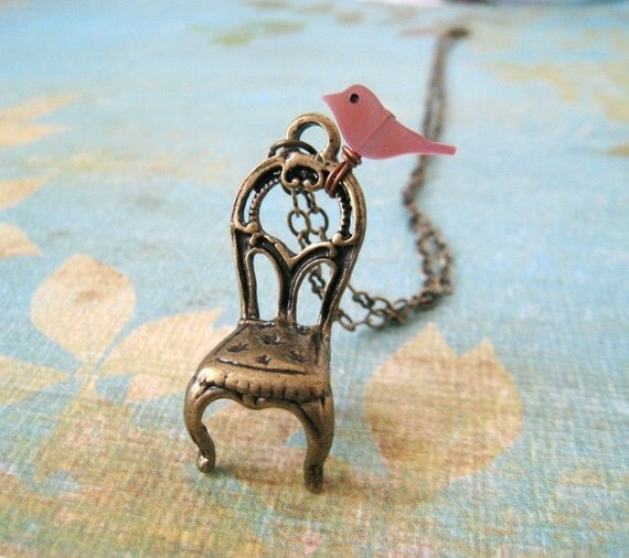 Little Bird Perched On Vintage Style Chair Necklace