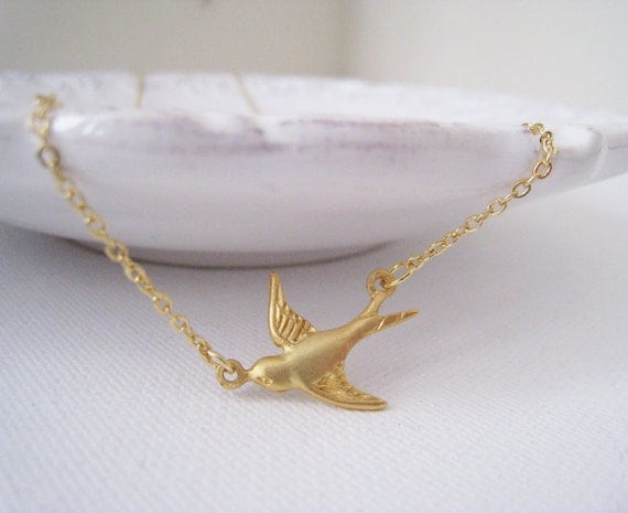 Bird Necklace. flying sparrow necklace. gold bird necklace. gold sparrow necklace. flying bird. matte gold bird necklace