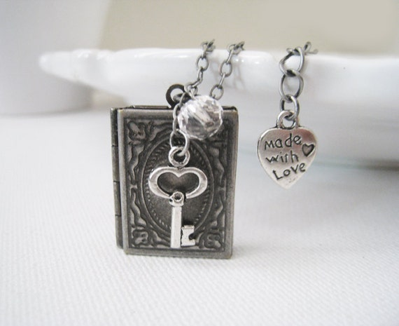 Book Locket Necklace. antique silver book locket pendant, key charm, and crystal bead in antique silver chain