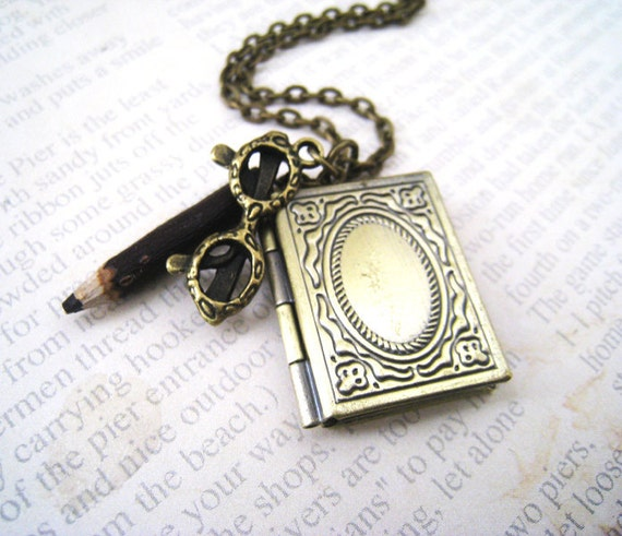 Book Locket Necklace. antique brass book locket pendant, glasses charm, and handcrafted pencil