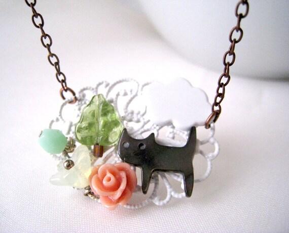 Kitten's Flower Garden Necklace
