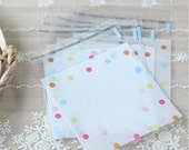 150pcs Colorful Dotted Clear Self Sealing Wrapping Gift Bags