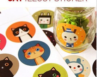 Kawaii Cat and Drinky Doll Illust Stickers - 10 sheets (90pcs) wholesale