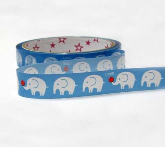 Japanese Kawaii Diy Deco Tape - 25m blue and white elephant
