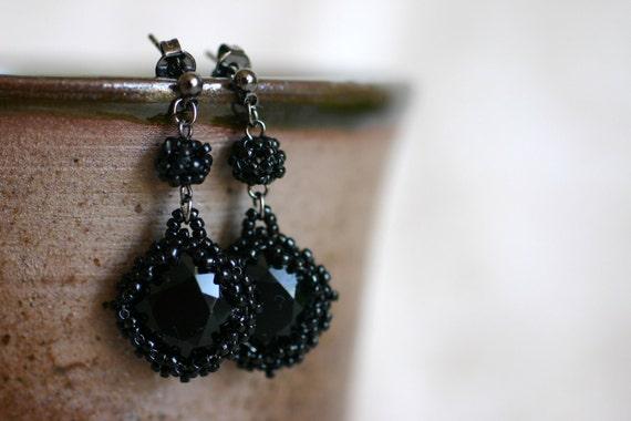 SIMPLY BLACK  Swarovski Crystal Earrings Wrapped in Black Japanese Seed Beads & Bead Ball