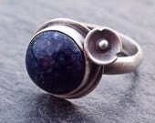 Lapis Ring, Lapis Lazuli, Dark Blue Lapis Ring, Flower Ring