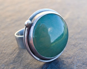 Aventurine Ring, Green Aventurine Ring, Cocktail Ring, Green Stone Ring, Sterling Silver Ring