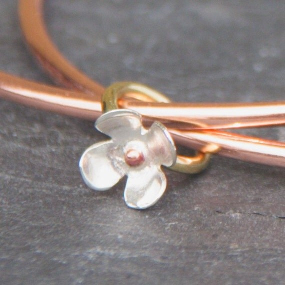 Flower Charm Bangle, Copper Bangle, Charm Bangle, Copper Charm Bangle, Charm Bracelet