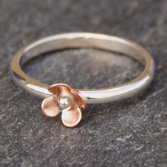 Flower ring, Sterling Silver Ring, Copper Flower Ring, Flower Stacking Ring, Stacking Ring