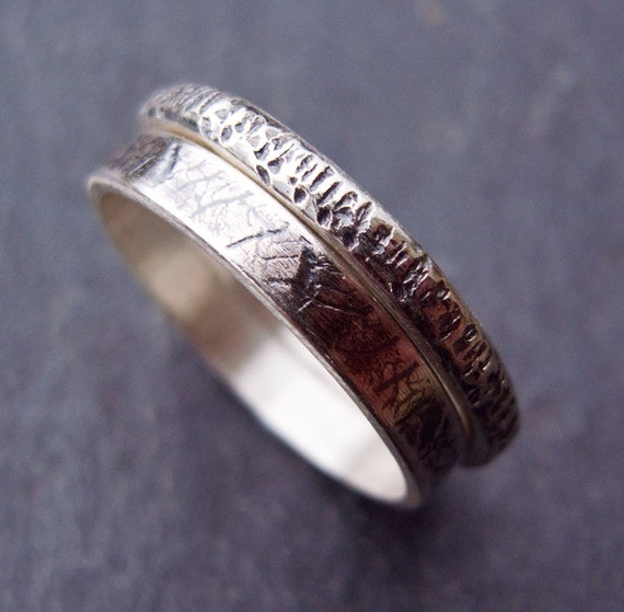 Sterling silver stacking ring set Rustic Woodland