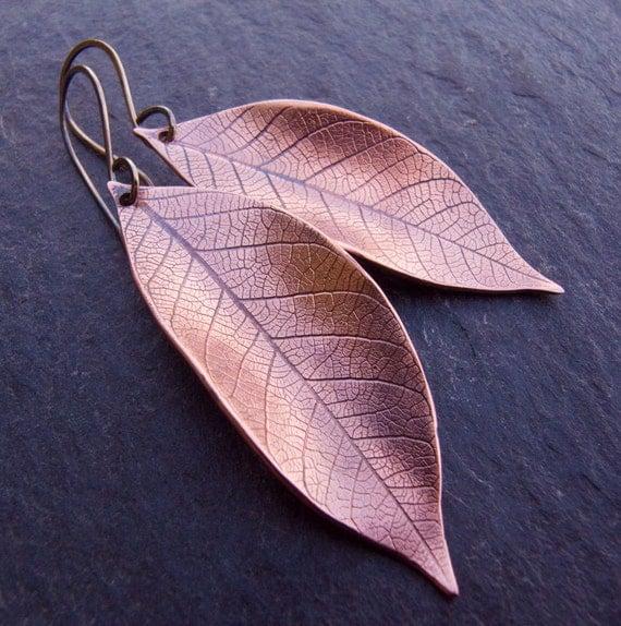 Copper Earrings, Copper Leaf Earrings