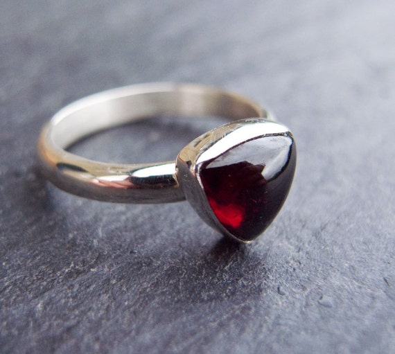 Garnet Ring, January Birthstone, Sterling Silver Ring, Silver Jewelry, Red Stone Ring size 6