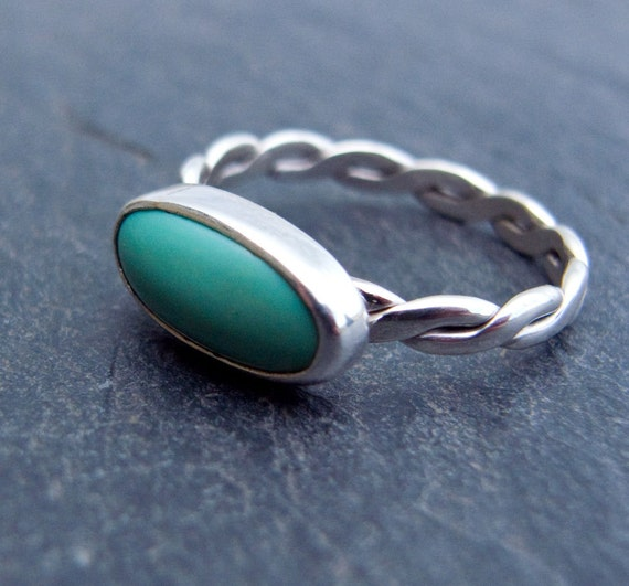 Turquoise and Sterling Silver Ring, Chinese Turquoise Ring, Stelring Silver ring