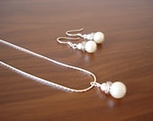 Popular Fancy Two Pearl Earrings and Pendant Necklace Set - Bridal, Bridesmaids