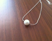 7 Floating Pearl Silver Necklaces - reserved for Laura