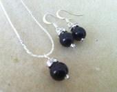 6 Single Black PearlBridesmaids Fancy Jewelry Set - Earrings & Necklace