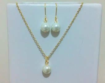 Single Pearl Gold Necklace and Earrings Set - bridal & bridesmaid gift jewelry