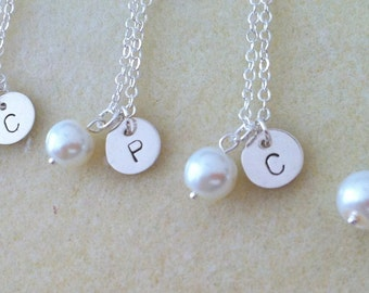 Personalized initial on Pearl Necklace and Earring Bridesmaid Set