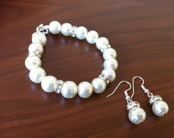 Glamour Pearl Bridesmaid Bracelet and Earrings Set